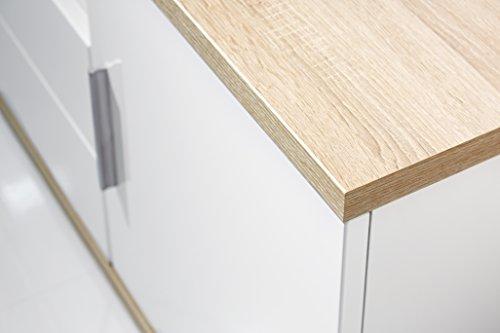 trendteam AA31241 TV Möbel Lowboard weiss Hochglanz, Absetzungen Eiche sägerau hell, BxHxT 150x55x47 cm - 2