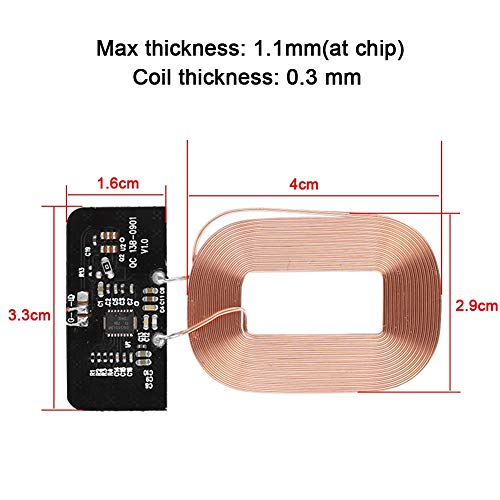 Bewinner Qi Standard Wireless Charger Receiver Module - Multi-Level Protection - Wide Compatibility - Receiver Module Circuit Board Coil - DIY Wireless Charger Parts …