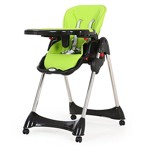 HGNbb La Silla Alta Plegable de múltiples Funciones del bebé, Portable Verde...