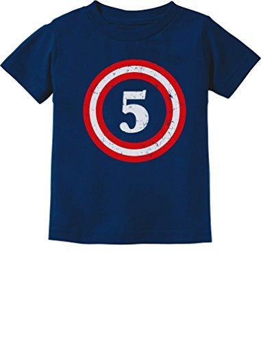 Tstars Captain 5th Birthday Shirt 5 Year Old Boy Birthday Gift Five Toddler Shirt 5/6 Navy