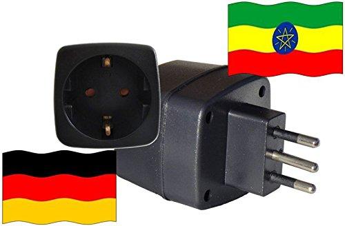 Reiseadapter für Äthiopien mit Kindersicherung und Schutzkontakt - Deutschland Adapter 250 Volt