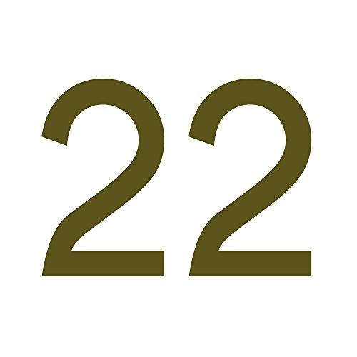 Zahlenaufkleber Nummer 22, Gold, 10cm (100mm) hoch, Aufkleber mit Zahlen in vielen Farben + Höhen, wetterfest