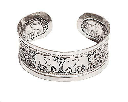 TreasureBay Armreif für Damen, 20 mm, 925er-Sterlingsilber, offen, Elefant