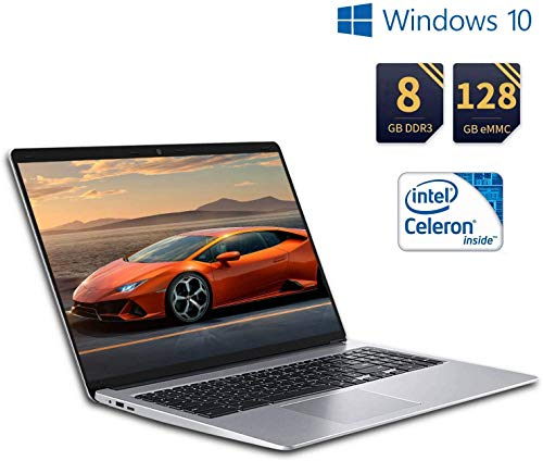 puissant Ordinateur portable Résolution Full HD Ordinateur portable 15,6 pouces Ordinateur portable Windows 10 8 Go de RAM + SSD 128 Go / 1 To, Intel Celeron…