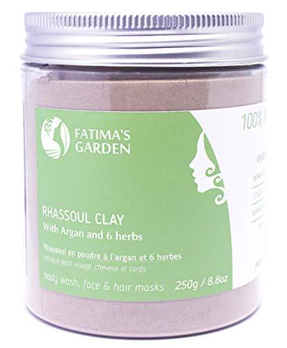 Ghassoul en poudre aux herbes - Rhassoul Marocain pour visage, cheveux et Hammam par Fatima's Garden -Adoucissant, Purifiant pour la peau ; Végan sans