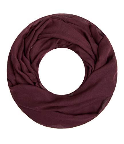 Majea Loop Cary Basic Schal Tuch Damen-schal Schlauchschal Rundschal Halstücher uni unifarben Loopschal einfarbig (weinrot 1)