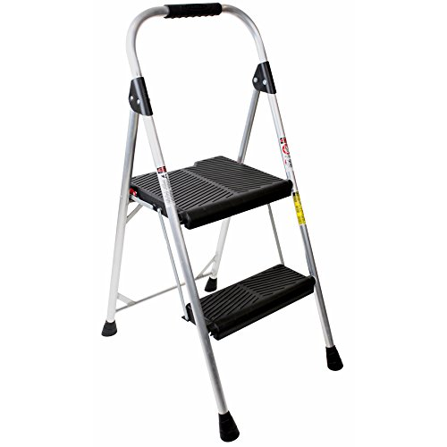 Werner 2-Step 225-lbs Capacity Silver Aluminum Foldable Step Stool