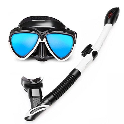 Goggles Duikbril, volledig droog snorkelen, gegalvaniseerd blauw licht HD anti-mist lenzen, Snorkel volledig gezicht masker duurzame bril