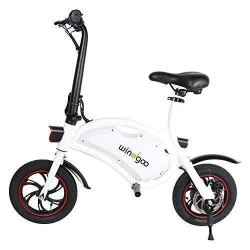 Windgoo Bicicletta Elettrica Pieghevole Adulto Leggera 12 Pollici 350W, Autonomia 20km, velocità Massima 25 km/h, Senza Pedali, Sedile Regolabile, Batteria 36V 6,0 Ah (Bianco)