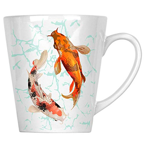 Pair Of Koi Fish Swimming 34 cl Latte Tasse gg527L
