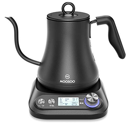 MOOSOO(モーソー) MK20 電気ケトル 0.8L 温度調節/保温機能/空だき防止 1℃刻みで調整可能 細口 コーヒー ドリップケトル (ブラック)