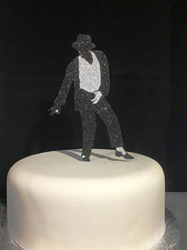 Classic Michael Jackson-Karte – aus Glitzer-Karton, 16 cm hoch, für große Kuchen (nicht essbar), silberfarben / Schwarz