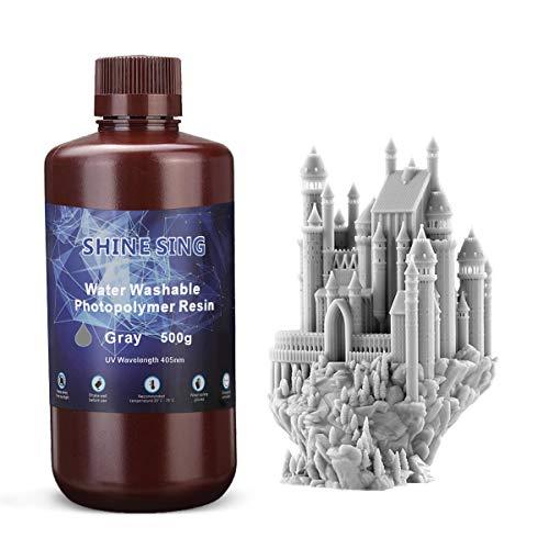 Impresora 3D de 500g Resina Lavable con Agua LCD Material de impresión de Resina de fotopolímero de curado UV para LCD 3D Impresión de cerámica Gris