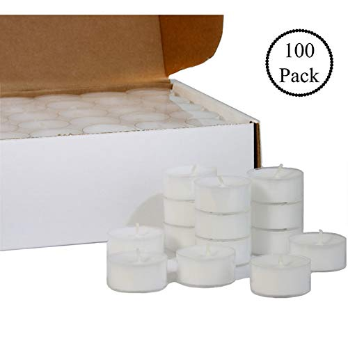 CandleNScent 5 Hour Tea Light Candles in Clear Cup - Extended Burn Time tealights (Set of 100)