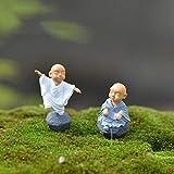 DAWEIF 2PCS x Monk Figure Ornament Kung Fu Doll Toy Miniature Dollhouse Bonsai Garden Decor