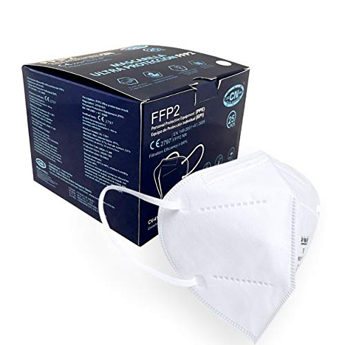Club Nautico 25x FFP2 Atemschutzmasken CE 2797 zertifiziert, Einzelverpackung in PE-Beuteln, Weiß