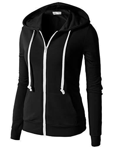 H2H Women's Plus Active Regular Fit Zip Up Long Sleeve Hoodie Jacket Black US L/Asia L (CWOHOL020)