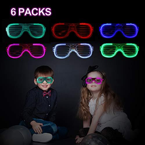 FORMIZON 6 Pcs LED Party Zubehör LED Blinkleucht Brille, Kindergeburtstag Gastgeschenke, Blinkt Partyspielzeug für Weihnachten, Halloween, Feiern Neujahrsparty (A)