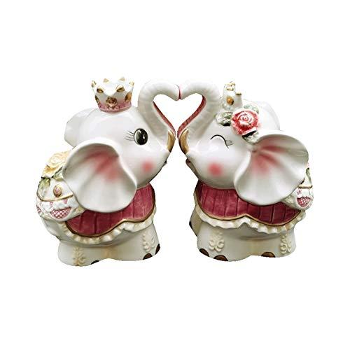 Mobiliario de decoración del hogar originalidad Cerámica Pareja creativa de adornos de elefantes Pink Lindo bebé Elefante Decoración de escritorio Elefante Estatua Elefante Artesanía para el hogar Reg