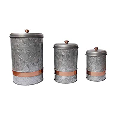Benjara, Gray Galvanized Metal Lidded Canister with Copper Band, Set of Three
