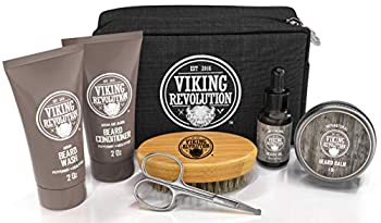 Beard Care Kit for Men Gift - Beard Grooming Kit Contains Travel Size Beard Oil Beard Balm Beard Shampoo & Conditioner Beard Brush and Grooming Scissors - Includes Travel Case  Original