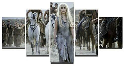 HJIAPO Game of Thrones Lienzo Pared Art Imagen Decoración del 5 Piezas Pinturas Moderna Estirada Y Enmarcado Arte Aceite 150 * 80Cm