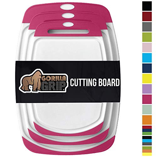 GORILLA GRIP Original Oversized Cutting Board, 3 Piece, BPA Free, Juice Grooves, Larger Thicker Boards, Easy Grip Handle, Dishwasher Safe, Non Porous, Extra Large, Kitchen, Set of 3, Hot Pink