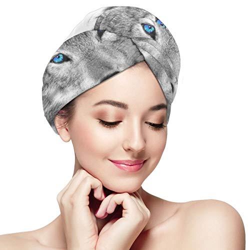 Turbante de toallas de secado de cabello de lobo de ojos azules Turbante para cabello mojado, envoltura absorbente para toallas de secado de cabello