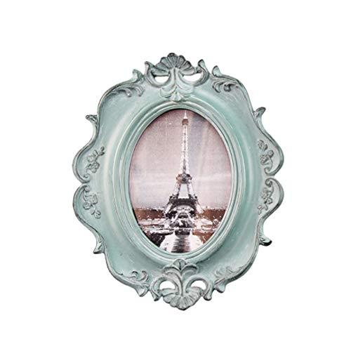 VOSAREA Marco de fotos ovalado de resina antigua, marco de pared para el hogar o el dormitorio de 6 pulgadas