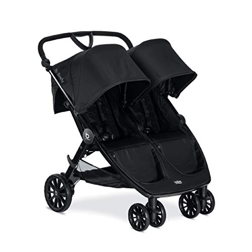 BRITAX B-Lively Double Stroller   Adjustable Handlebar + Easy Fold + Infinite Recline + Front Access Storage, Raven