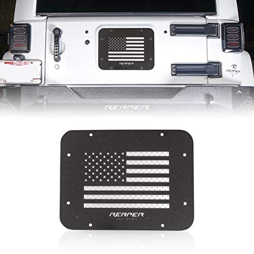 Reaper Off-Road   American Flag   Spare Tire Delete Kit   Tire Carrier Delete Kit   Tailgate Vent Cover   Stamp   Textured Black Coating   Compatible with 2007-18 Jeep Wrangler JK JKU