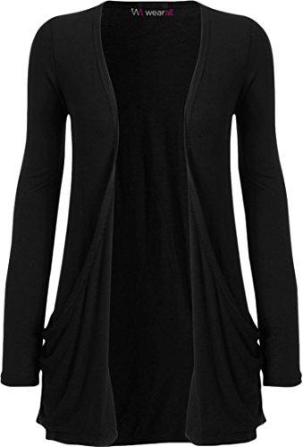 WearAll - Damen Langarm Cardigan mit Taschen - Schwarz - 36-38