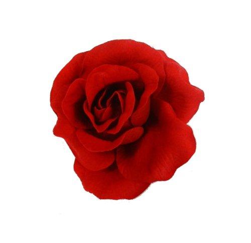 Large Rouge Tissu Rose Bibi Barrette Peigne