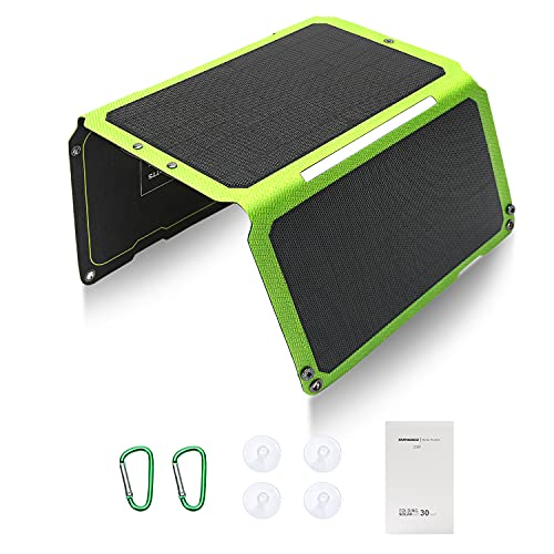 Caricatore solare Caricatore da pannello solare portatile da 30 W con caricatore da viaggio a pannello monocristallino USB ETFE a 2 porte per telefono