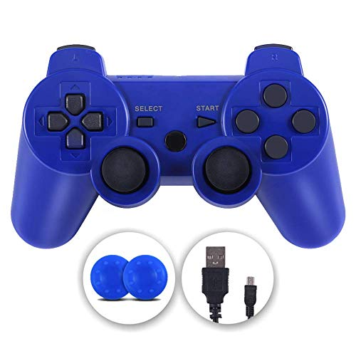 PS3 Controller, Wireless PS3 Controller Double Shock Gamepad for Playstation 3, Sixaxis Controller with Charging Cable (Blue)