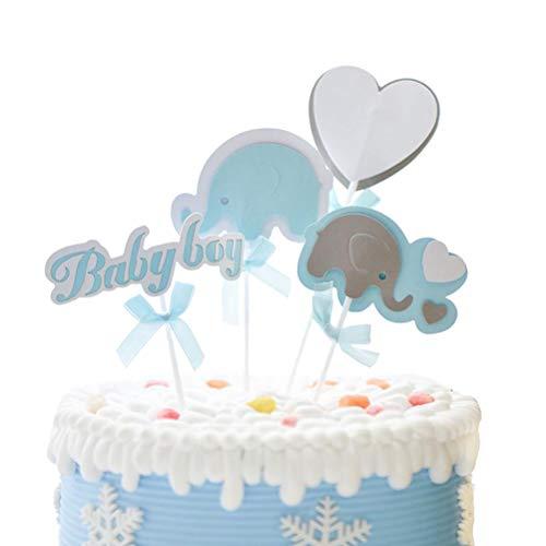 STOBOK Baby Mädchen Baby Dusche Geburtstag Elefant Kuchen Cupcake Toppers Kuchen Dekorationen für Geburtstag Baby Shower Party Dekorationen liefert Gefälligkeiten (blau)
