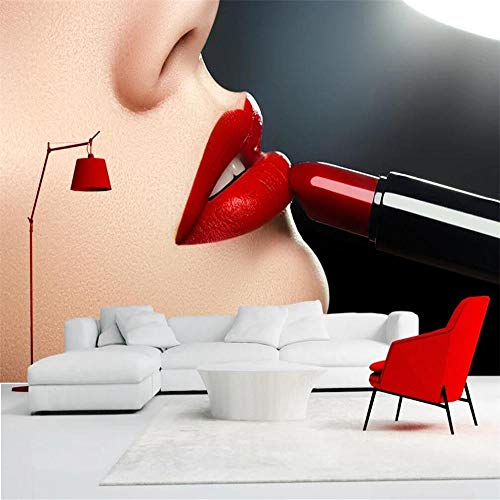 Custom 3D Wall Mural Modern Art Beautiful Red Lips Close-up Background Wall Decoration Painting Wall Mural - 400x280 Cm/157.5X110.2 Inch