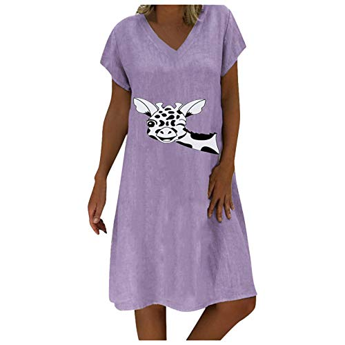winwintom Plus Bohemian Dresses for Women Maxi Dress Sundress Women's Fashion Casual O-Neck Cotton Linen Giraffe Print Short Sleeve Dress Purple 01 S