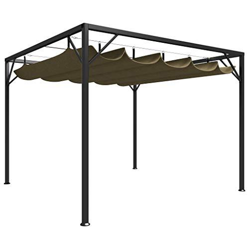 vidaXL Gartenpavillon mit Ausziehbarem Dach UV- und Wasserbeständig Pavillon Pergola Überdachung Terrassenüberdachung Partyzelt 3x3m Taupe 180g/m²