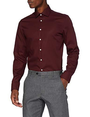 Seidensticker Herren Business KENT-675268 Klassisches Hemd, Bordeaux, 40