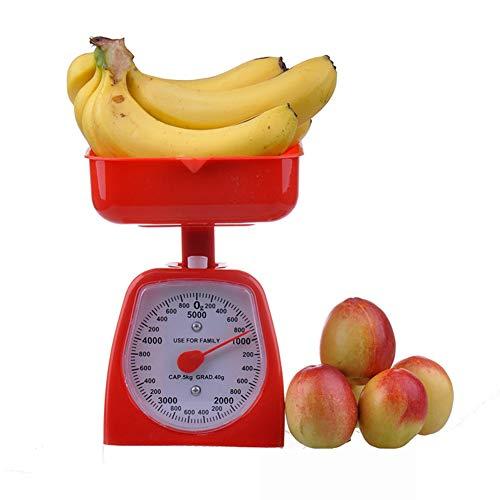 ENticerowts Báscula de pesaje de cocina, 3/5 kg, báscula de pesaje mecánica de cocina, bandeja desmontable, esfera vegetal, color al azar, 5 kg