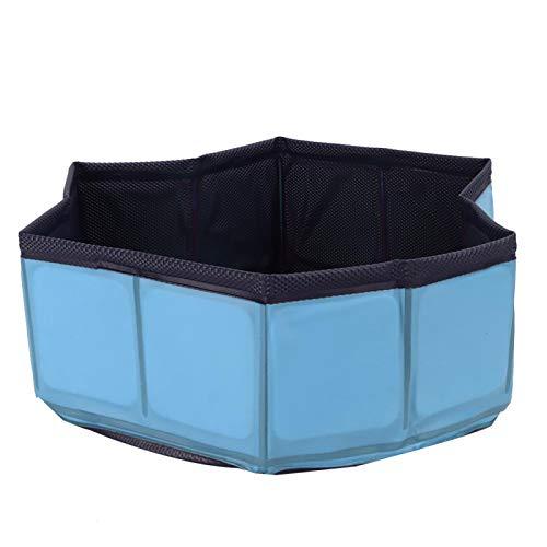 KUIDAMOS Piscina Portátil para Perros, Bañera Plegable a Prueba de Fugas para Exteriores, Bañera de PVC Sin Inflado para Perros, Gatos y Niños(Azul)