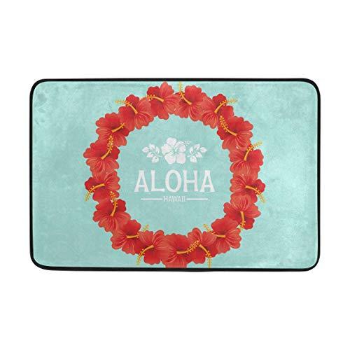 FANTAZIO deurmatten voor entree weg buiten Hawaiian Aloha slinger ontwerp gebied tapijt rechte tapijt Gripper voor keuken/badkamer 23.6x15.7in