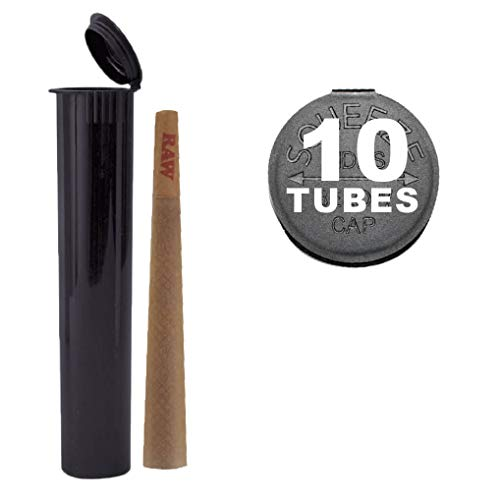 10 W Gallery 120mm Black Doob Tubes - Smell Proof Pop Top Joint Blunt Cigarette Storage Holder - BPA Free Plastic Stores King Size RAW Cones - 2 3 4 5 6 8 + Bonus Bulk Pack - 120 mm replaces 116mm 116