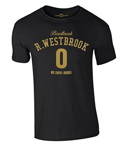 Russell Westbrook T-Shirt Beastbrook 0 Mr.Triple-Double OKC Thunder Trikot Jersey (L, Schwarz/Gold)