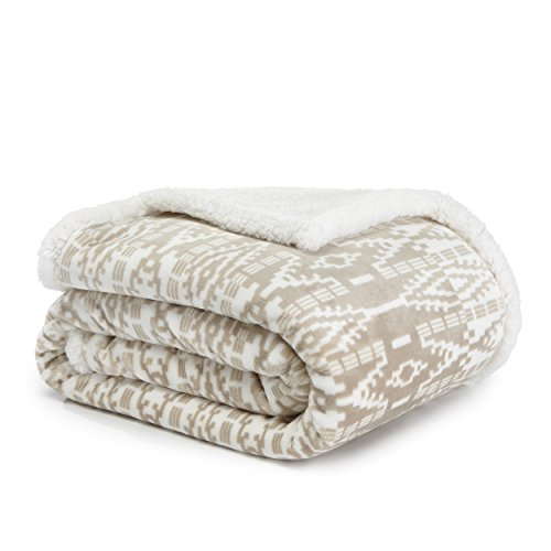 Eddie Bauer Ultra-Plush Collection Throw Blanket-Reversible Sherpa Fleece Cover, Soft & Cozy, Perfect for Bed or Couch, San Juan Oyster
