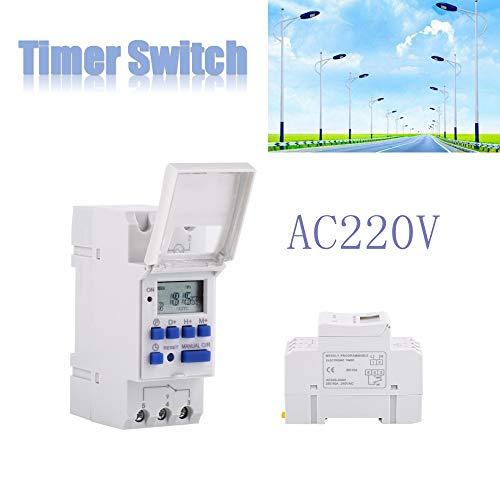 LCD Temporizador de montaje en carril,interruptor de temporizador,AC / DC12V,AC / DC24V,AC110V,AC220V, 25A 250VAC,1 min a 168 horas,Para controlar farolas, lámparas de neón(220V英文)
