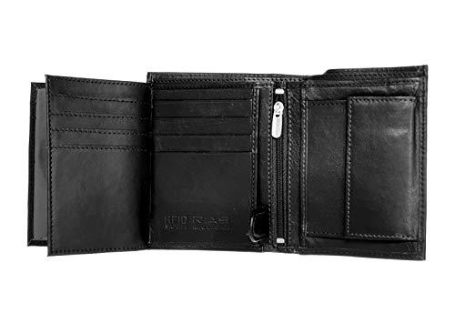 RAS® Herren-Luxux-Weichleder-Dreifach-Brieftasche, Kreditkartenfächer, ID-Kartenfenster Und Münztasche #503 (Schwarz)