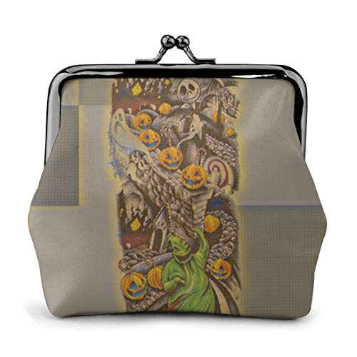 Halloween Tattoo Pu Leather Exquisite Buckle Coin Purses Vintage Pouch Classic Lock Change Purse Wallets Gift