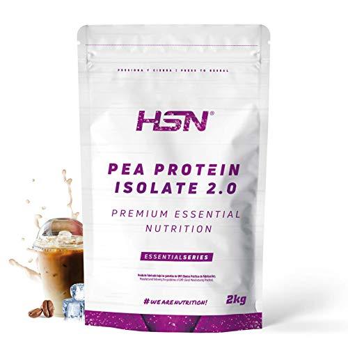 Proteína de Guisante Aislada de HSN | Vegan Protein | Pea Protein Isolate | Edulcorada con Estevia | Vegano, Sin Lactosa, Sin Gluten, Sin Azúcar, Sin Soja, En Polvo, Sabor Café Frappé, 2 Kg